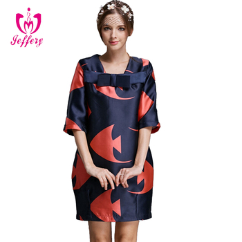New Fashion Stylish Women's Fish Printed Casual dress Midi Length Sleeve O-neck Bowknot Loose Casual Party Dress Z010