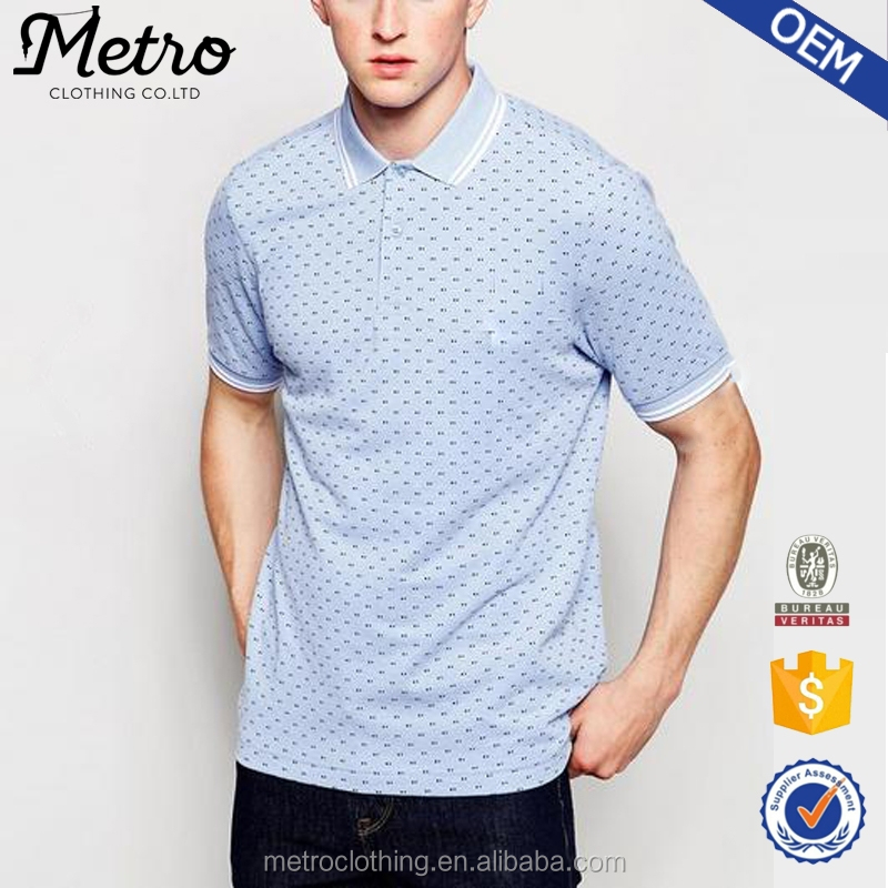 2015 OEM Brand Custom Made Wholesale High Quality Twin Tip and Polka Dot Cotton Men Polo Shirt