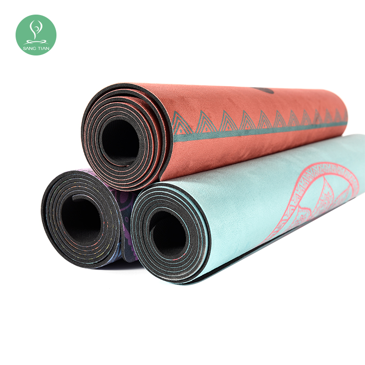 Fitness Exercise Sports Natural Rubber Yoga Mat Suede Fabric Yoga Mat Non Slip Yoga A Mat with Carry Bag on Sell