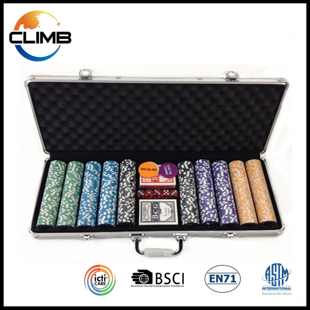 Wholesale 13.5g deluxe poker chip game set design round with Aluminun Metal Case roulette chips set