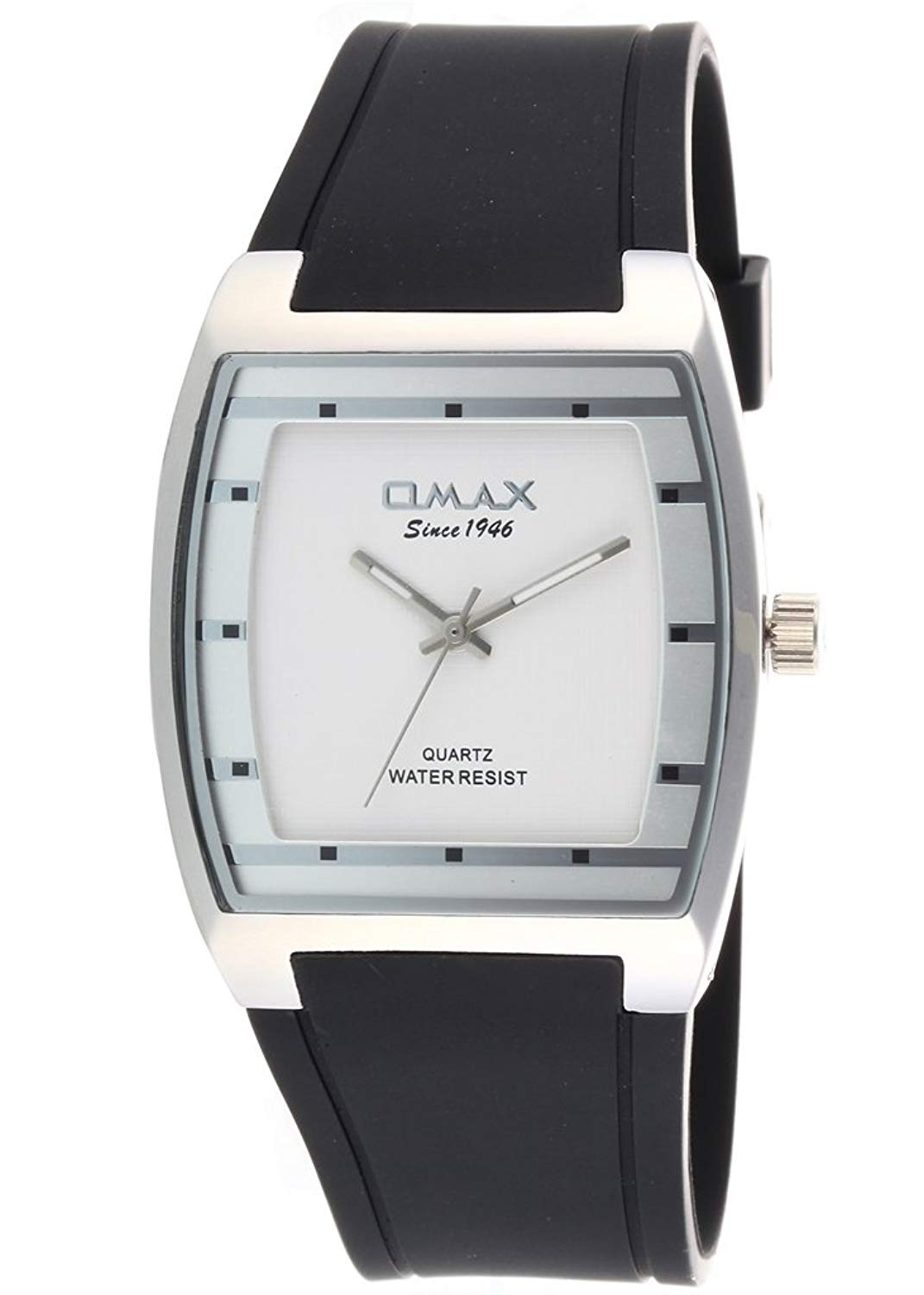 New Fashion Dress Style Omax Mens Wrist Watch Black Silicone Strap Silver Dial Analog Quartz