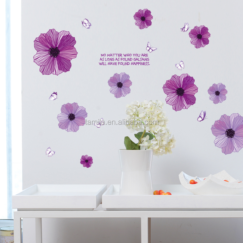 korean style flower butterfly pvc wall stickers removable home