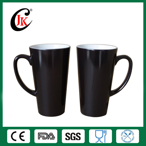 Wholesale Custom Ceramic 17oz black taper shaped color changing mug, magic mug for sublimation