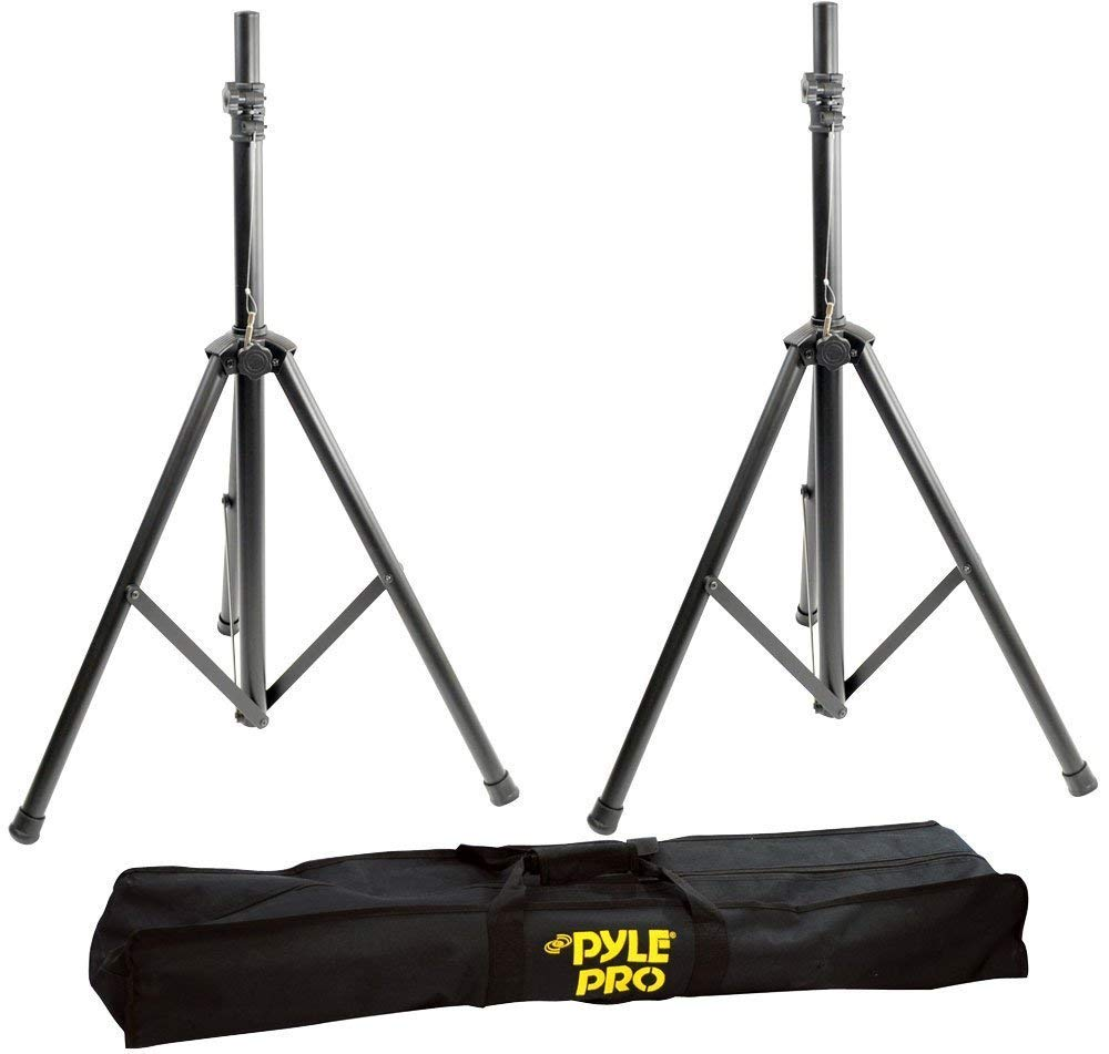 Heavy-Duty Aluminum Anodizing Dual Speaker Stand with Traveling Bag Kit, Heavy-Duty Aluminum Speaker Stand Kit, 8Ft Height, Traveling Bag (Pair), Black, Dual Speaker Stand with Traveling Bag Kit