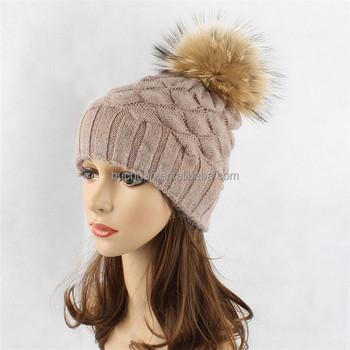 Women Girls Winter Fur Hat Real Large Raccoon Fur Pom Pom Beanie Winter Hats 27a64106648