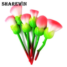 2017 New Design Cosmetics Wholesale 6 Pcs Nylon hair Rose Flower Shaped Makeup Brush Set