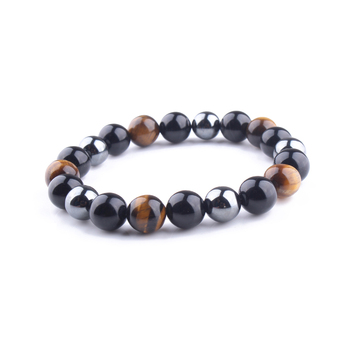 10mm Tiger Eye&Black Onyx&Hematite Magnetic Energy Bracelet For Man