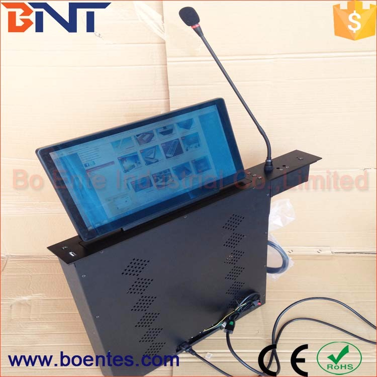Ultra-thin LCD Monitor / TV Screen Motorized Pop Up System with Conference Microphone