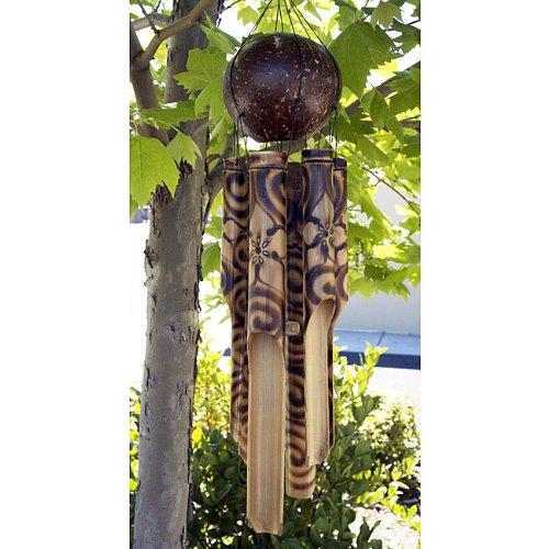 Bamboo Burnt Hibyscus Handmade Wind Chime of Bali, Indonesia