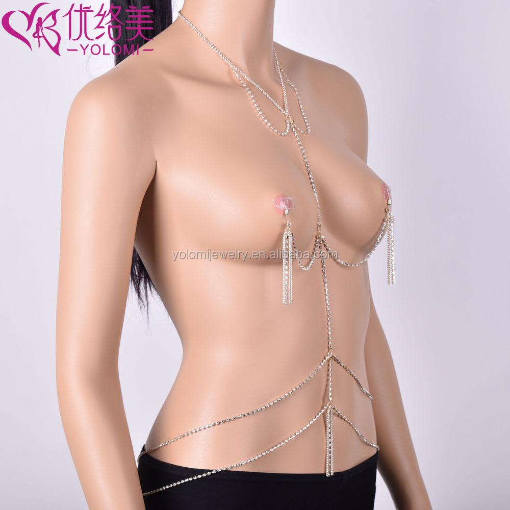 simple nipple bra body chain crystal tassel nipple bra chain jewelry