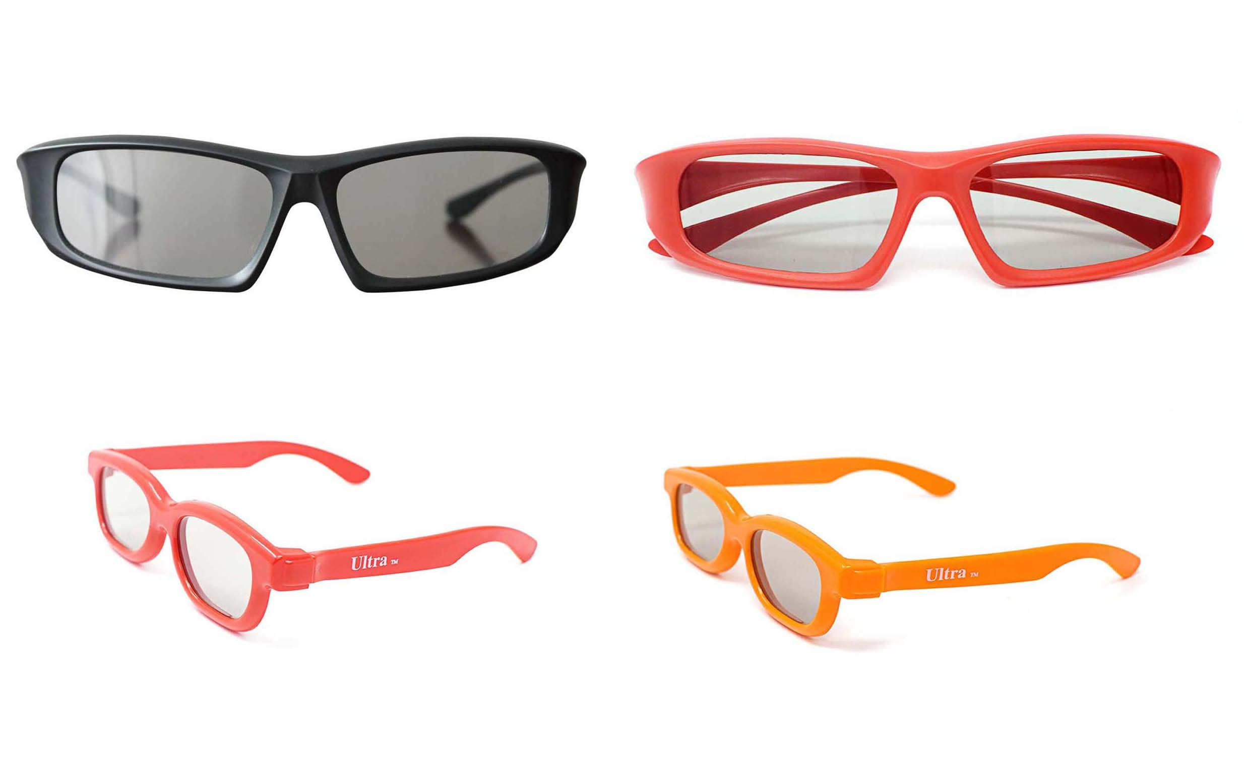 Ultra Family pack of 4 Pairs of Universal Passive 3D Glasses for all TV & cinema 2 Adults red & black & 2 kids in red & orange