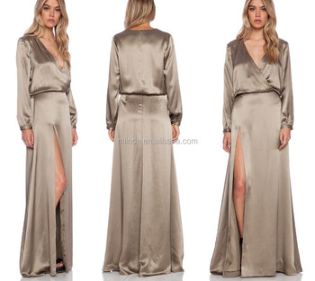 Satin maxi dress long sleeve