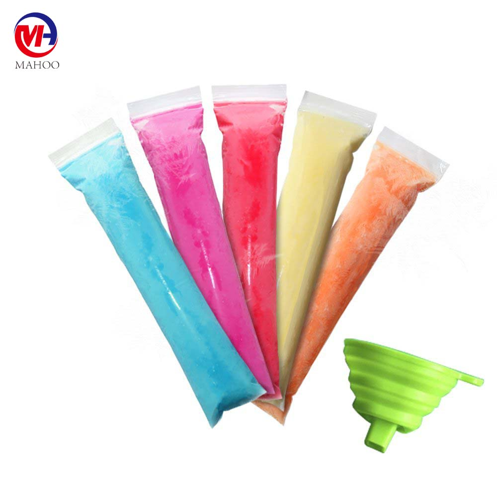 Disposable Ice Popsicle Mold Bags 8x2'' | BPA Free Freezer Tubes With Zip Seals | For Healthy Snacks, Yogurt Sticks, Juice & Fru
