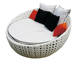 Patio Rattan Round Wicker Daybed With Canopy