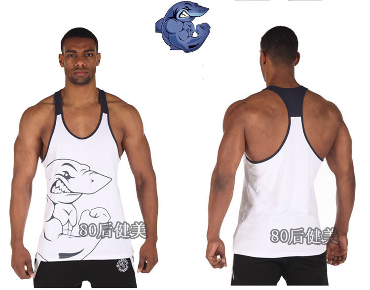 d31268b5edf87 ... Hot sale 100% cotton M- XXL Plus size mens fitness gym shark tank top  ...
