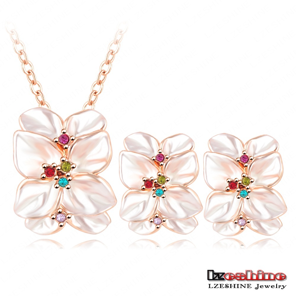 Hot Sale Charm Jewelry Set Rose Gold Plated Austrian Crystal Enamel Bijoux Earring/Necklace Pendant Flower Set ST0001-A