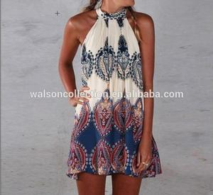 Seller factory walson Womens Mini Playsuit Ladies Jumpsuit Summer Shorts Beach Print Boho Dress