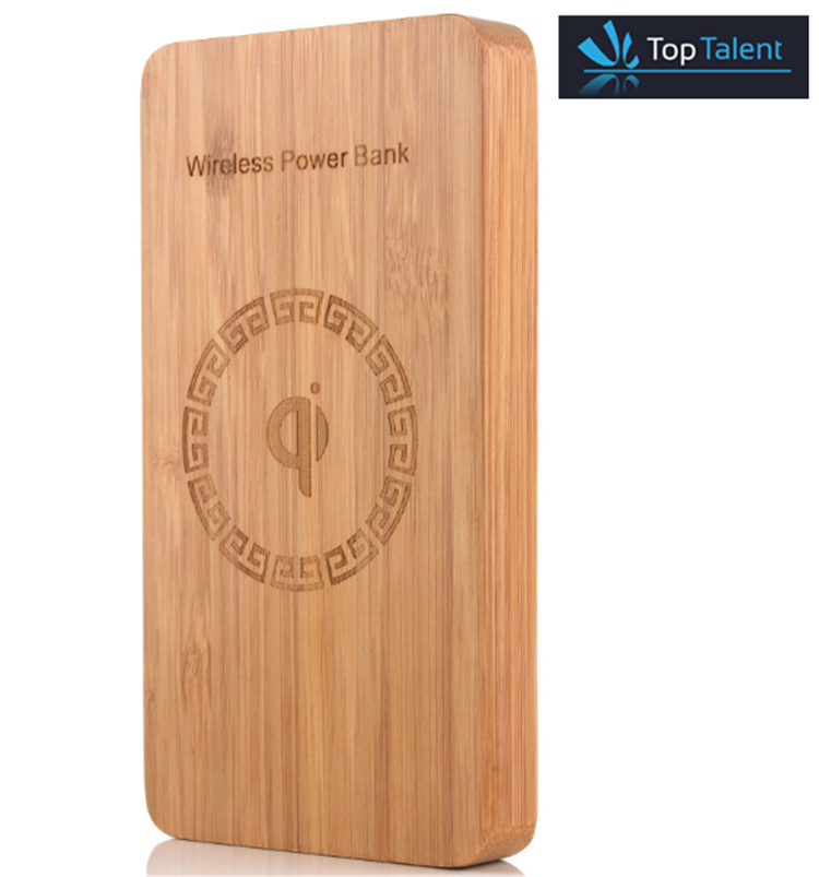 High quality cheap price 10000MAH wooden qi wireless power bank for cell phone