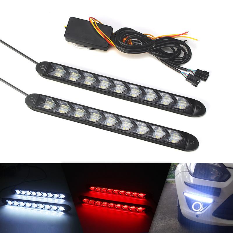 LED Flexible DRL Daytime Running Lights Turn Signal White/Amber Switchback Dynamic Streamer Knight Rider Strip Light Headlights