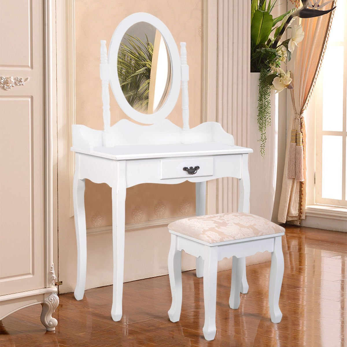 Get Quotations · Furinho Bush   White Vanity Wood Makeup Dressing Table  Stool Set Jewelry Desk W/ Drawer