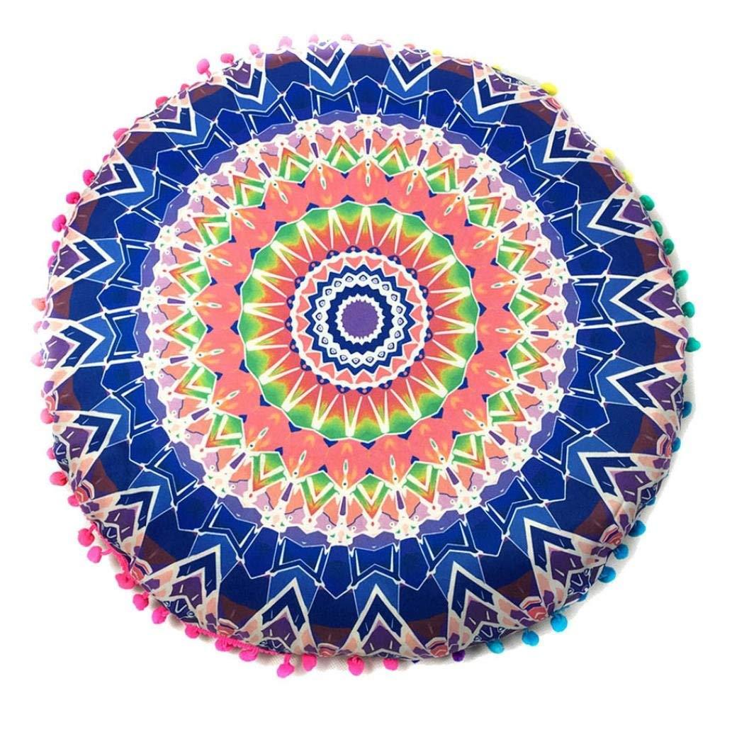 Sothread Bohemian Style Pillowcases Indian Mandala Floor Cushions Ottoman Poufs New (Blue)