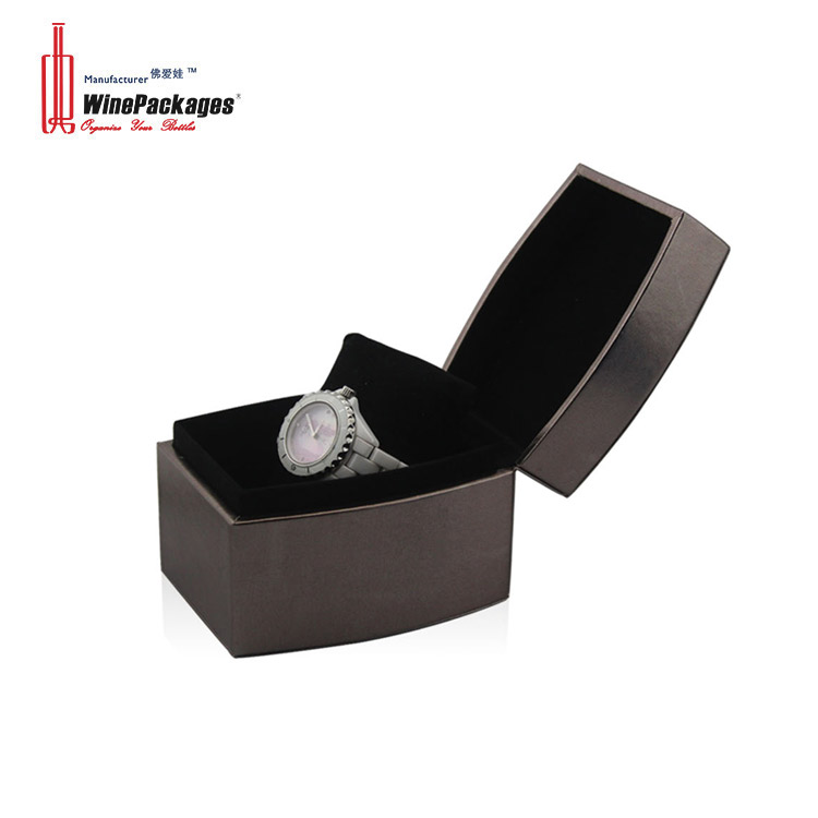 Factory price  high-end display black men  wristwatch box leather watch box