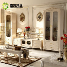 Classical French Furniture Design One Two Doors Living Room Wooden TV Glass Display Cabinets