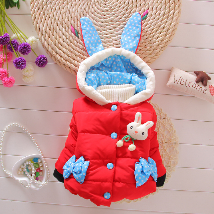 Classic hooded girl cotton Korean long ears rabbit printed jacket factory outlet children's cotton autumn winter clothes