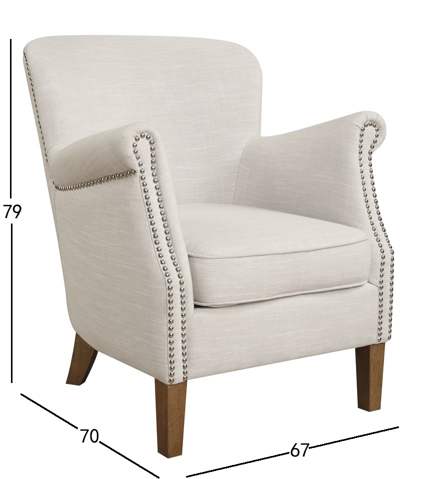 Accent Fabric Chair With Nailhead Buy Accent Chair With