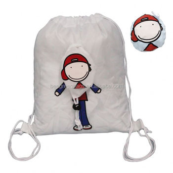 recyclable foldable kids drawstring back pack drawstring bags for