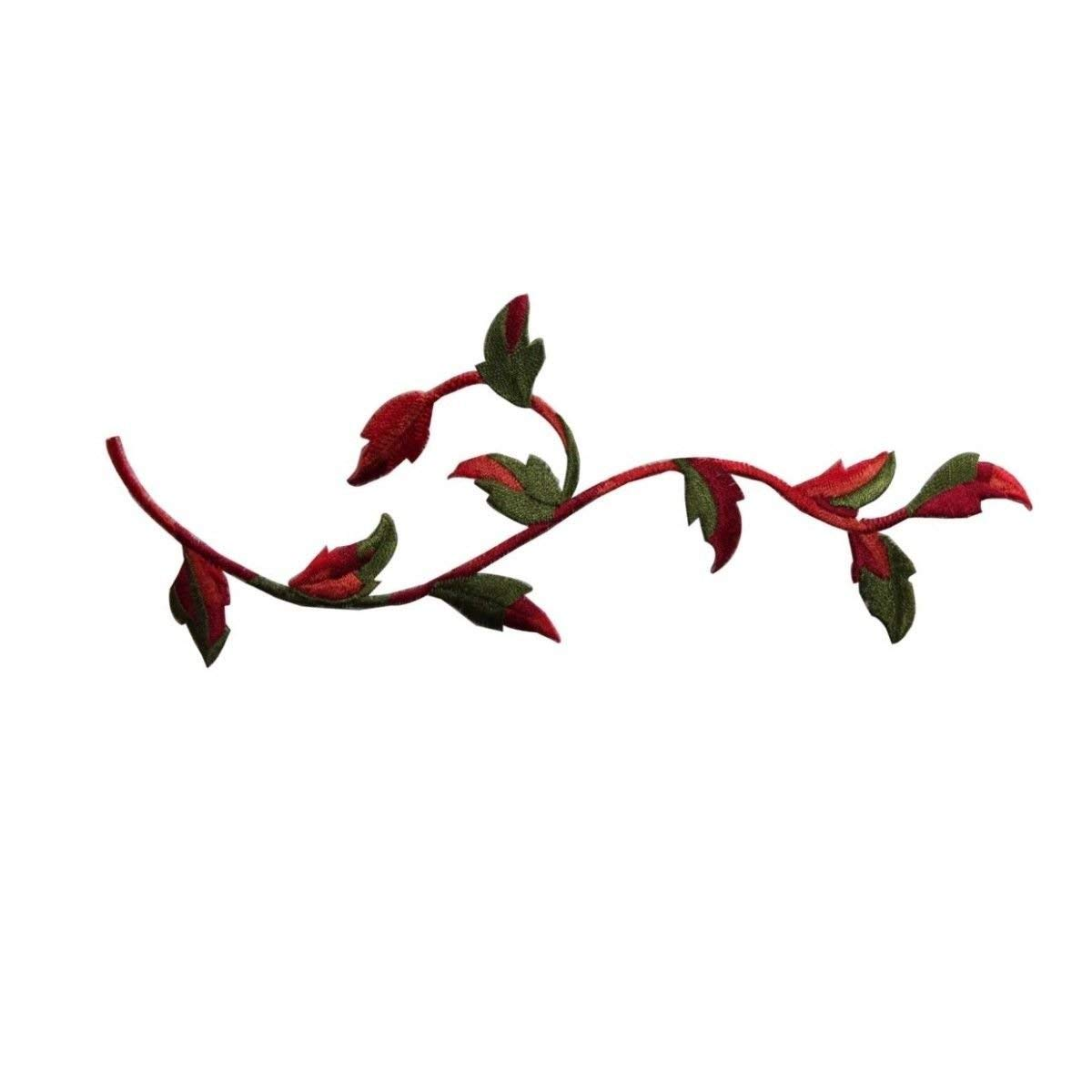 ID 7145 Red Flower Vine Patch Garden Plant Leaves Embroidered Iron On Applique