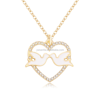 Gold plated jewelry crystal heart pigeon pendant meaning peace dove gold plated jewelry crystal heart pigeon pendant meaning peace dove of peace necklace aloadofball Choice Image