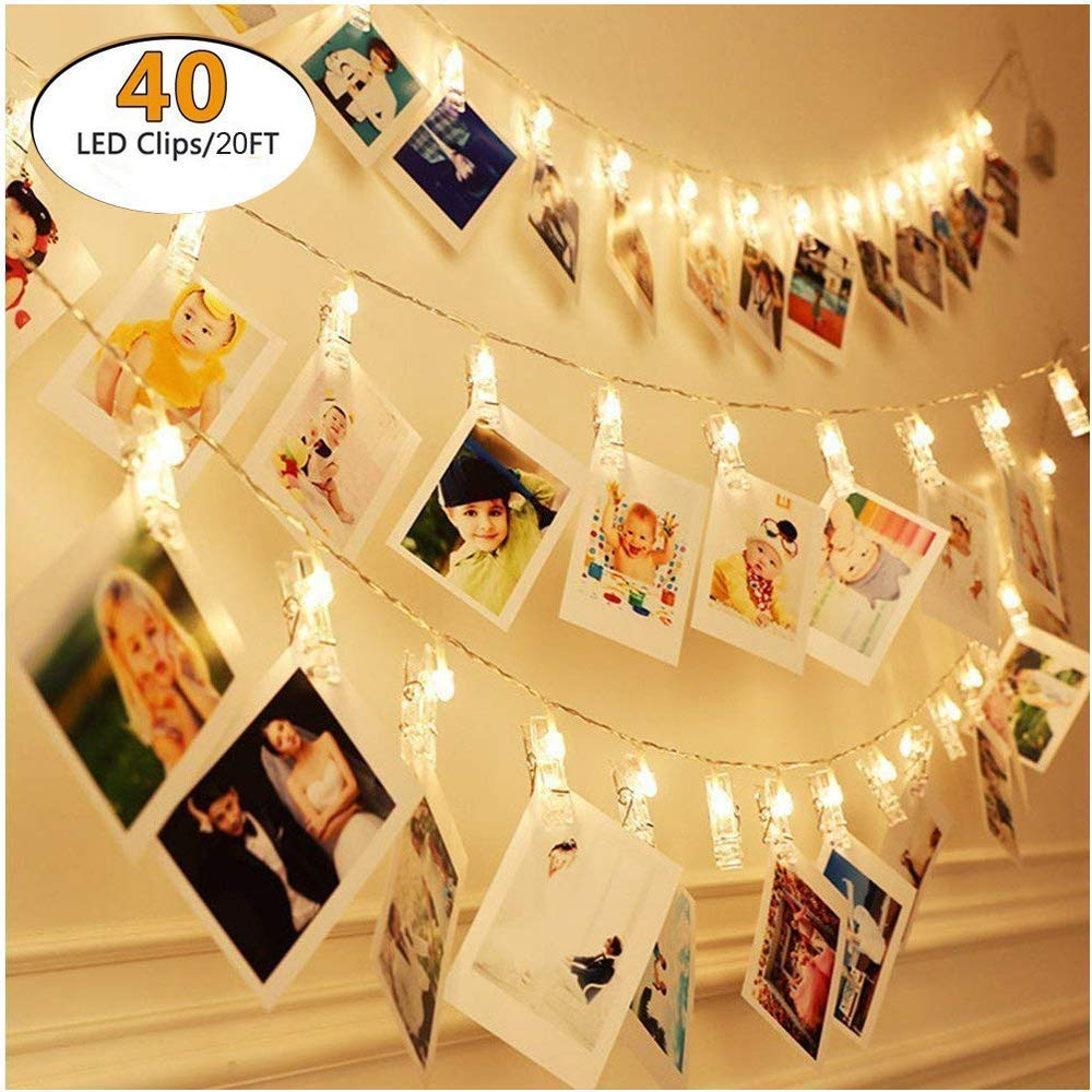 Waterproof Photo Clip String Lights - 40 Photo Clips 6M battery or USB Powered LED Picture Lights for Decoration Hanging Photo, Notes, Artwork Fairy Twinkle Wedding Party Christmas Home Decor Lights