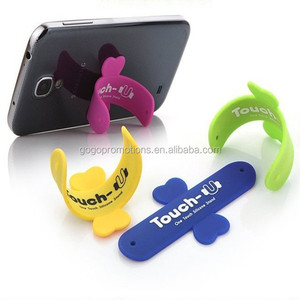 newest factory touch-c sticker silicone mobile phone stand, Hot cell phone accessory one touch U silicone mobile phone stand