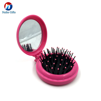 Portable Plastic Round Travel Foldable Hair Brush