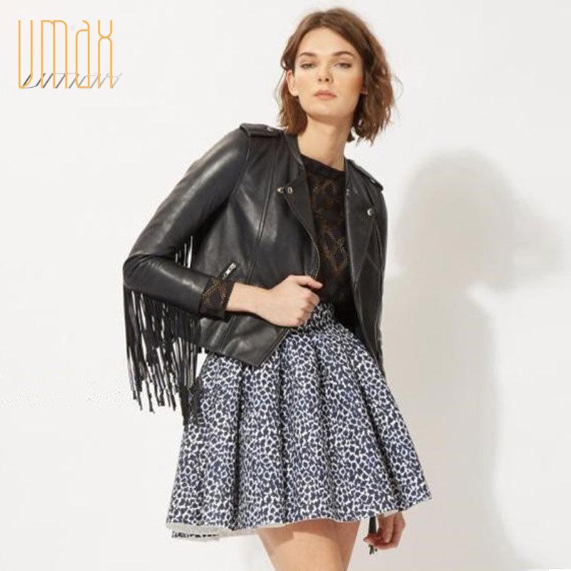 2015 мода черный бахрома кисточкой кожаная куртка и пальто женщин осень зима мотоцикл тонкий свободного покроя casaco feminino B1509170