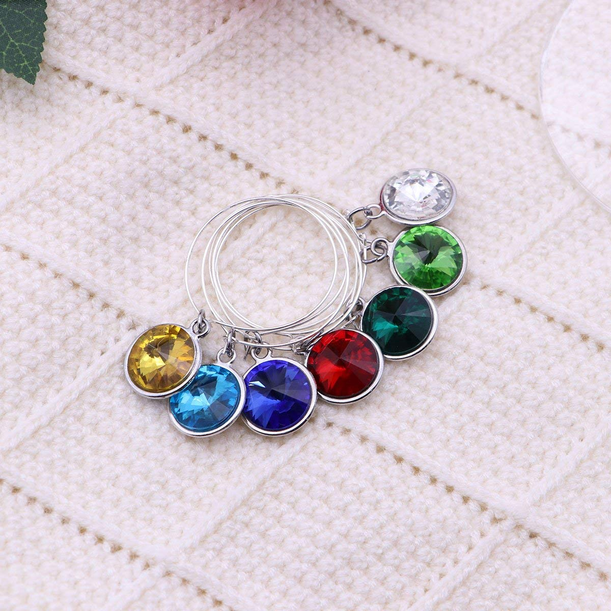 LUOEM 5pcs Birthstone Wine Glass Charms with 25mm Rings Wire Hoops Drink Markers Party Supplies Earrings (Gold)