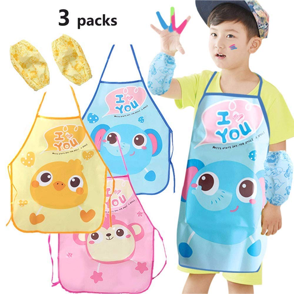 Taylor Gre Kids Cartoon Waterproof Apron Sleeve Set Art Smock and Kid Smocks or Painting, Kitchen,Community Event,Crafts and Garden Best Gift for Kids 2-6 Years Old