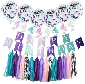 Birthday party decoration little mermaid party supplies banner, confetti balloon, tassel and garland