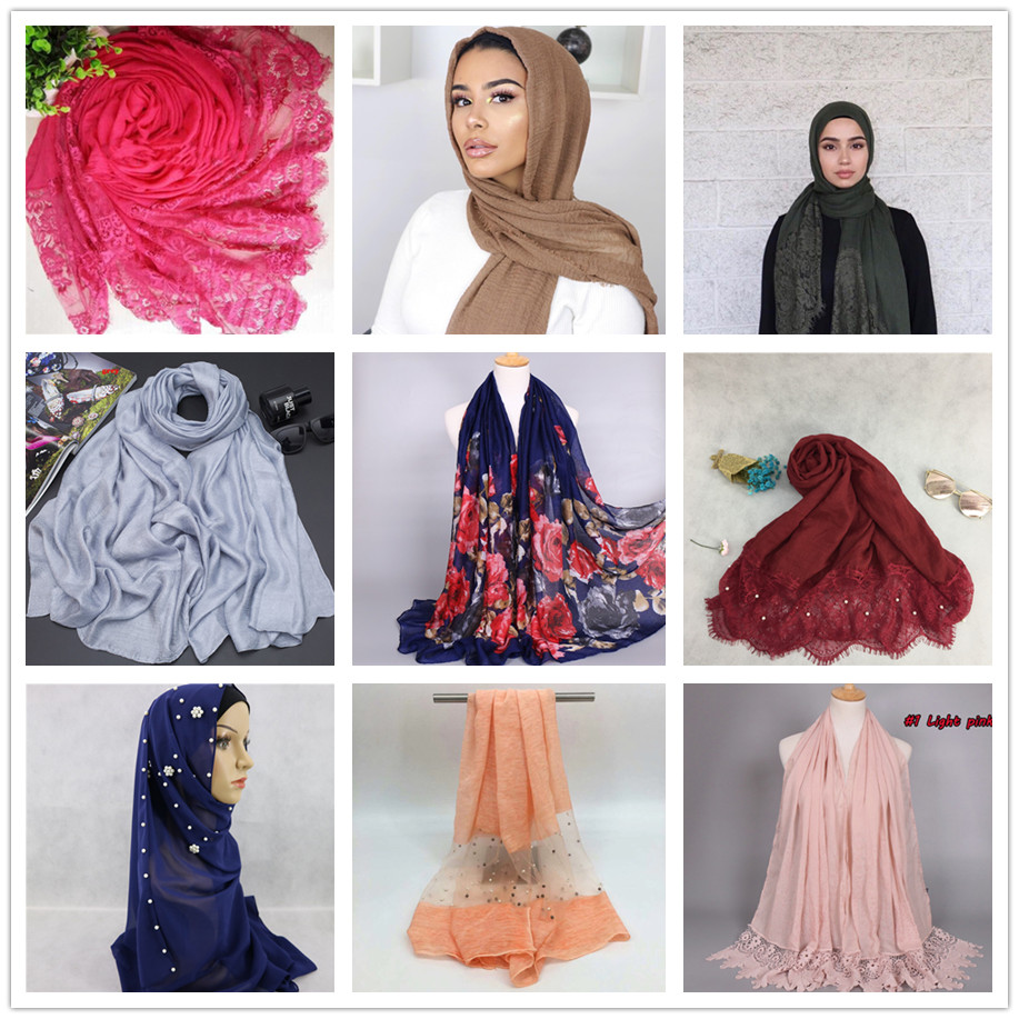 wholesale bubble chiffon scarf women muslim silk scarf pearl beaded hijab pashmina with gold floral flower
