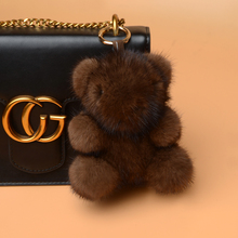wholesale plush toy soft brown bear fur keychain for bag