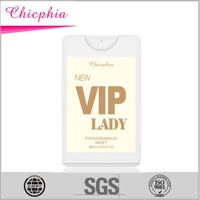 New VIP Lady 20ml small card body mist for women /body mist bottle packing