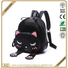 2017 new design fashon cute cat kitty satchel bag leather girl's daily backpack bag