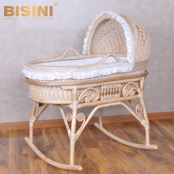 Bisini new arrival nature rattan color new born baby bed, white lace wicker baby crib - BF07-70352