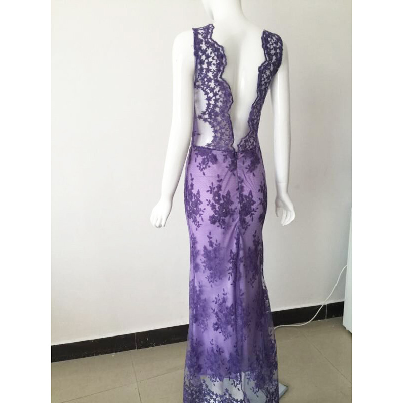 New women vintage dress sleeveless bodycon elegant light lace purple dress long summer v neck vintage dresses vestido longo