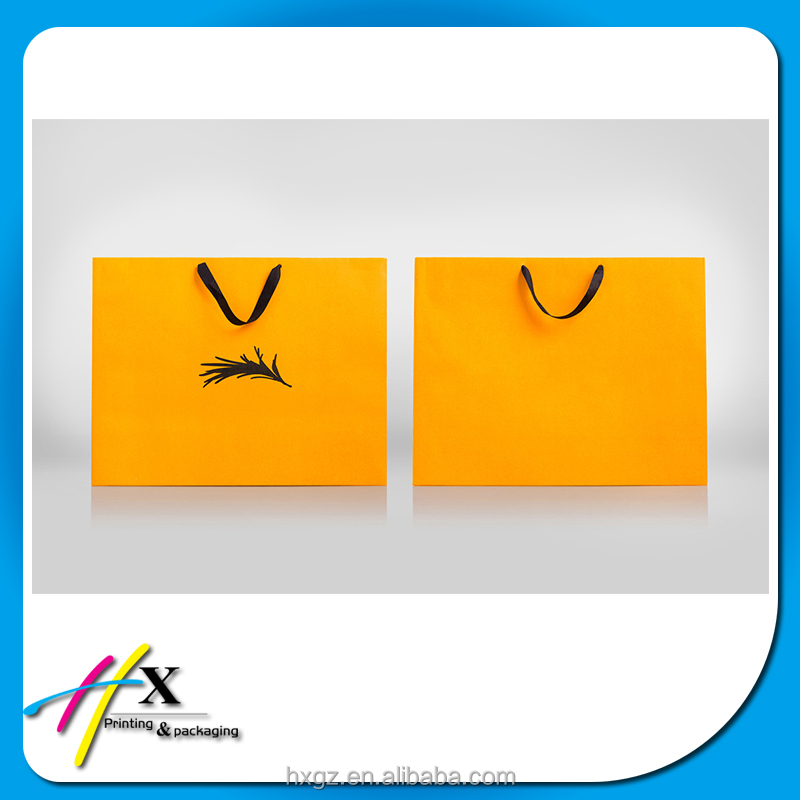 yellow elegant fancy design paper bag packaging clothing shopping bag with high end