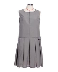 Girls School Uniform Sleeveless Zip Front Pleated Pinafore Dress