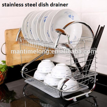 2 layer stainless steel dish drainer rack with cup holder or chopping board holder