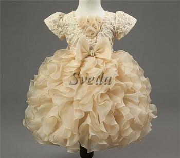 Wholesale Little Baby Girl Birthday Party Dress Evening Bowknot Princess Bubble Skirt For 2
