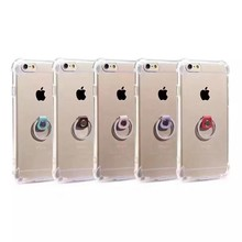 Ultra thin transparent TPU dropproof phone case with metal ring holder for Iphone5 iphone6 4.7'' 5.5''